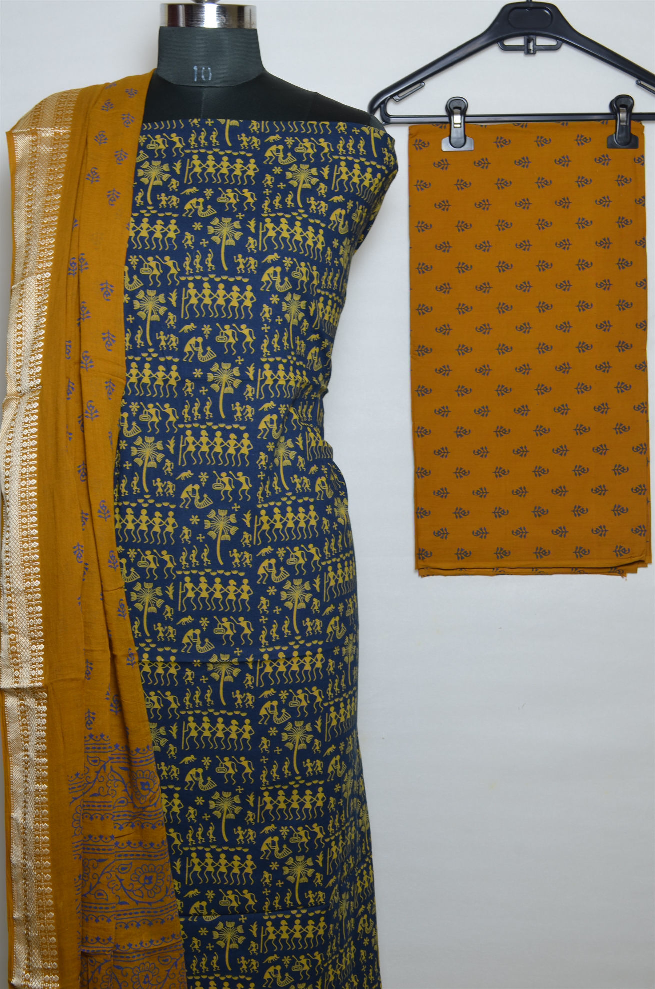 Tvis And Bliss Navy Blue And Mustard Yellow Printed Cotton Dress Material